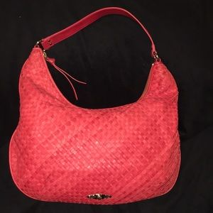 Elliot Lucca Red Woven Leather Shoulder Bag